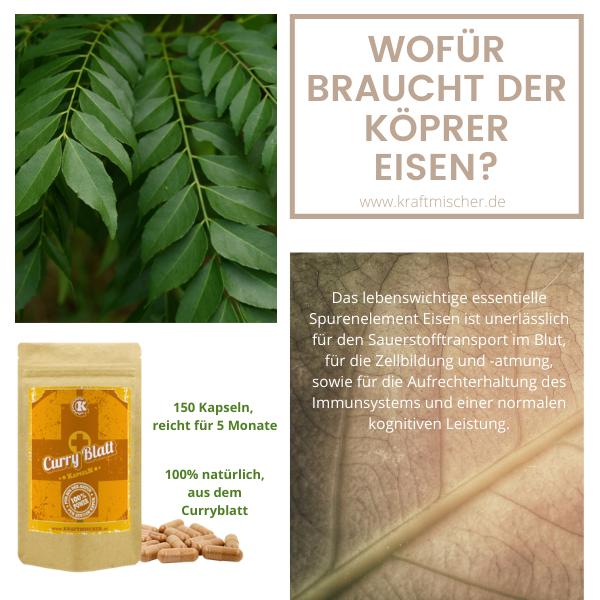 Eisen Kapseln (Curryblatt Extrakt) 150 Stk.